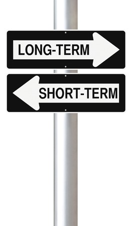 longterm: Modified one way street signs indicating Long-Term and Short-Term