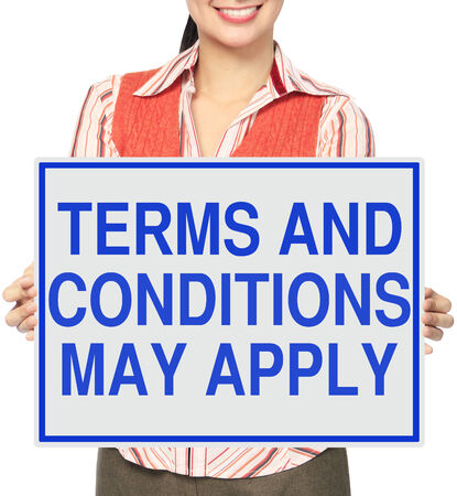 condition: A woman holding a poster on terms and conditions  Stock Photo