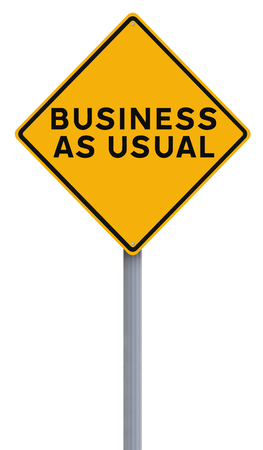 사업을 평소대로 나타내는 수정 된 도로 표지판