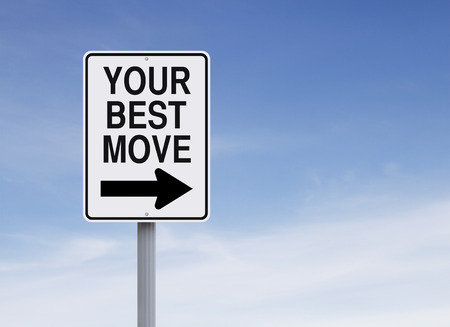 Conceptual one way street sign indicating Your Best Move Stok Fotoğraf