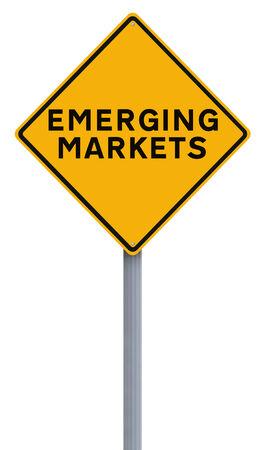 Een conceptueel verkeersbord met vermelding van opkomende markten