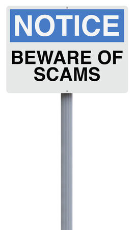 A modified notice sign warning about scams Stock Photo