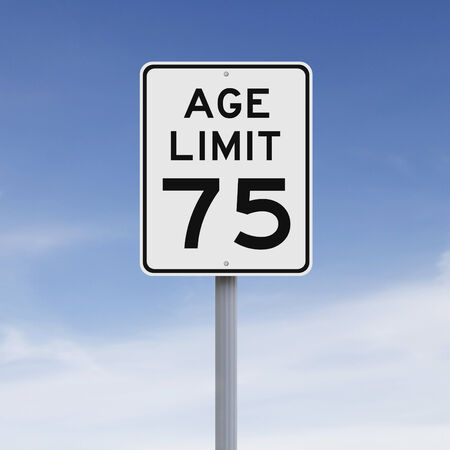 limits: A modified speed limit sign indicating an age limit of seventy five Stock Photo
