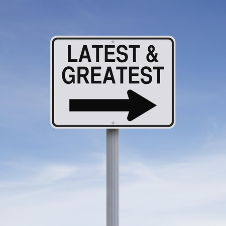 greatest: Conceptual one way sign indicating Latest and Greatest Stock Photo