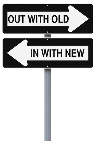 one way sign: Modified one way  of signs on the concept of change or improvement