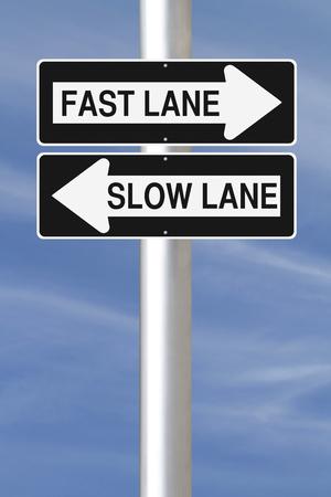 fast lane: Modificado unidireccionales se�ales que indican Fast Lane y Lane lenta