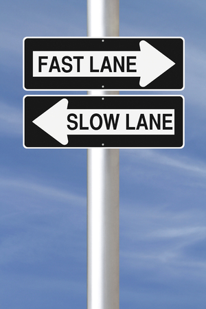 one lane road sign: Modified one way signs indicating Fast Lane and Slow Lane