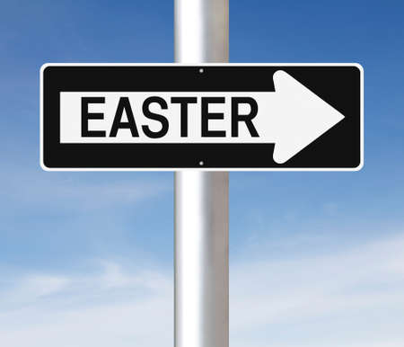 one way sign: A modified one way sign on Easter
