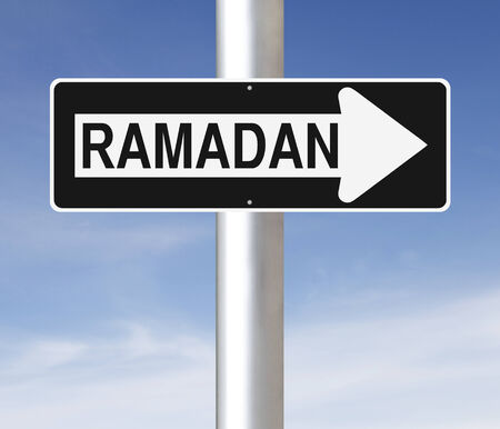 one way sign: A modified one way sign on Ramadan Stock Photo