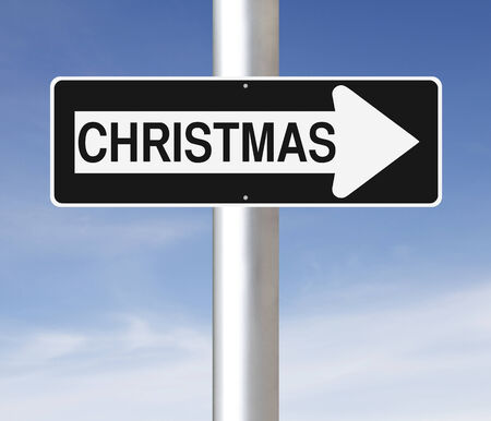 one way sign: A modified one way sign on Christmas Stock Photo