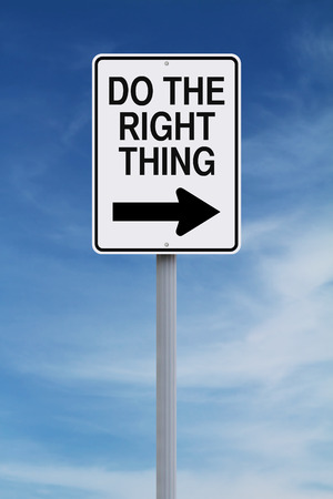 one way sign: Conceptual one way sign indicating Do the Right Thing Stock Photo