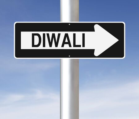 one way sign: A modified one way sign on the festival of Diwali