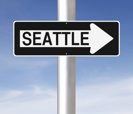 one way sign: A modified one way sign indicating Seattle