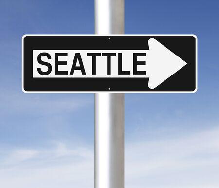 Un signe une façon modifiée indiquant Seattle Banque d'images - 36456480