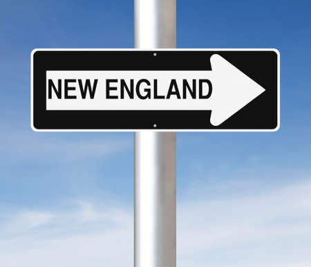 one way sign: A modified one way sign indicating New England Stock Photo