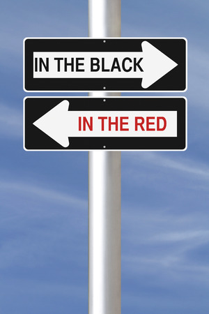 net income: Modified one way signs indicating  In The Black and In the Red