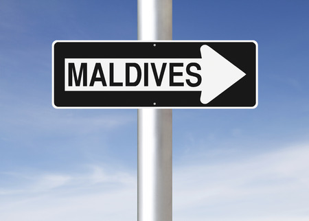 one way sign: A modified one way sign indicating Maldives