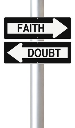 Conceptual one way street signs indicating Faith and Doubt photo