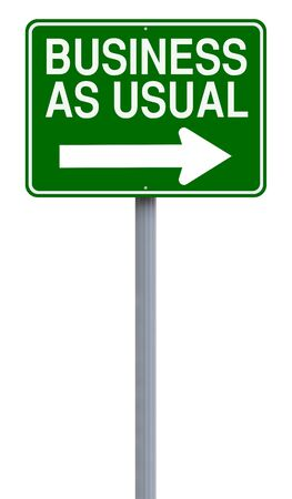 one way sign: A modified one way sign indicating Business As Usual Stock Photo