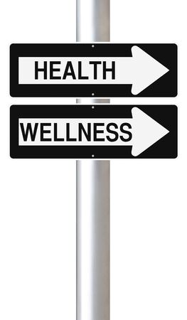 way of living: Conceptual one way signs on Health and Wellness