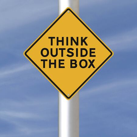 outside the box: A conceptual road sign indicating Think Outside the Box Stock Photo