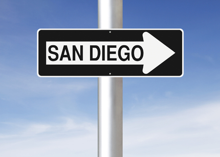 one way sign: A modified one way sign indicating San Diego (USA)