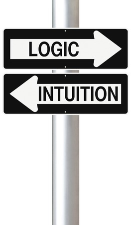feel feeling: Conceptual one way signs indicating Logic and Intuition Stock Photo