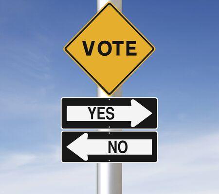 Señales de tráfico modificados en la elección o referéndum