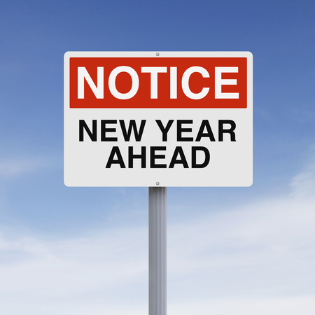 notice: A modified notice sign on New Year Stock Photo