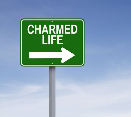 charmed: Modified one way sign indicating  Charmed Life