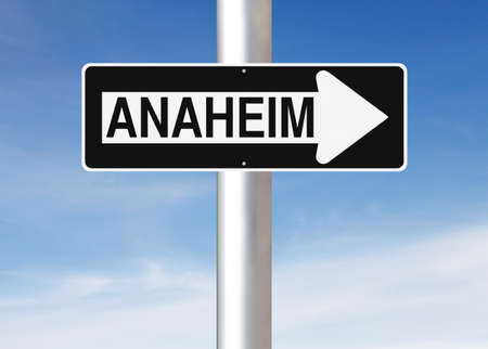 one way sign: A modified one way sign indicating  Anaheim (USA) Stock Photo