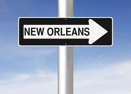 one way sign: A modified one way sign indicating New Orleans (USA)