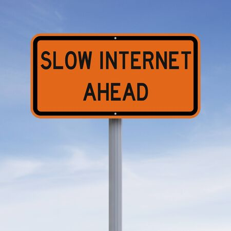 slow: A modified road sign indicating Slow Internet Ahead Stock Photo