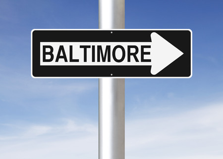one way sign: A modified one way sign indicating Baltimore
