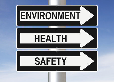 environment: Conceptual one way street signs indicating Environment, Health and Safety