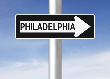 one way sign: A modified one way sign indicating Philadelphia