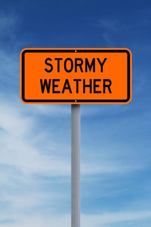 bad weather: Modified road sign warning of stormy weather Stock Photo
