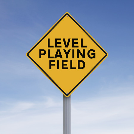 level playing field: A modified road sign indicating Level Playing Field