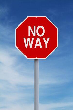 no way: A modified stop sign indicating No Way Stock Photo