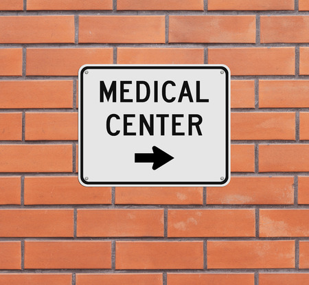 medical center: A road sign indicating Medical Center Stock Photo
