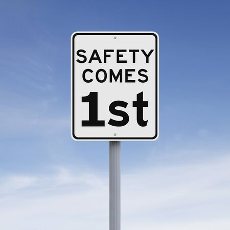 safety slogan: A modified speed limit sign on safety
