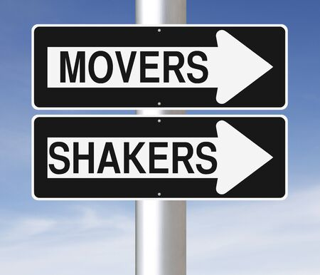 Conceptual one way street signs indicating Movers and Shakers