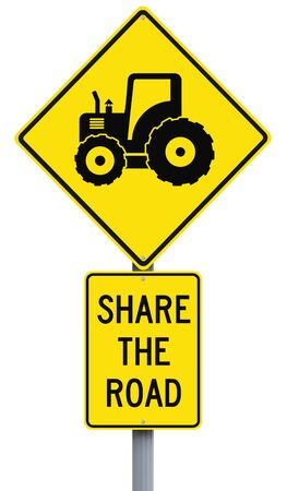 tractor warning: Road signs on sharing the road with tractors