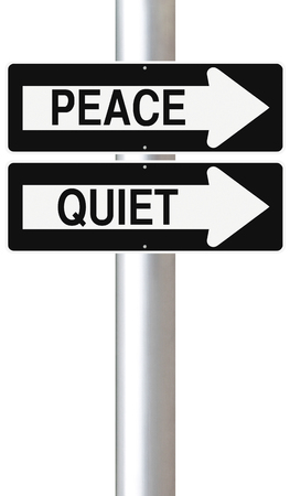 peace and quiet: Conceptual one way street signs indicating Peace and Quiet