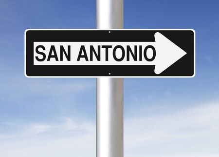 one way sign: A modified one way sign indicating San Antonio