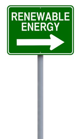 one way sign: A modified one way sign indicating Renewable Energy Stock Photo
