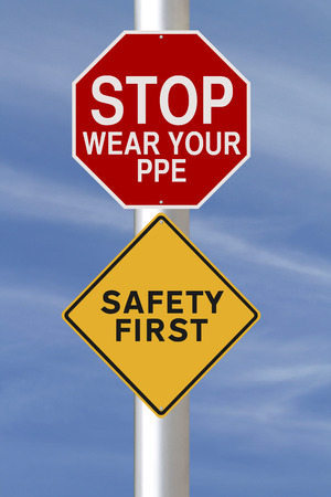 personal protective equipment: Modified road signs on safety Stock Photo