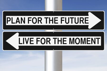 way of life: Conceptual one way signs on Life Stock Photo