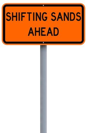 shifting: Conceptual road sign warning of shifting sands ahead Stock Photo