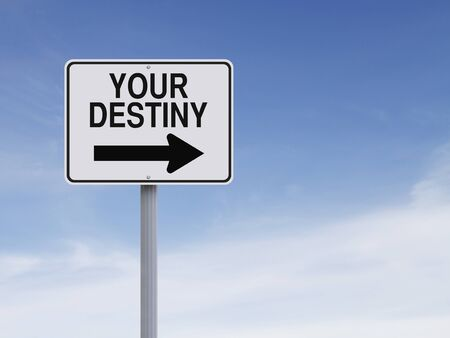 Modified one way sign indicating Your Destiny